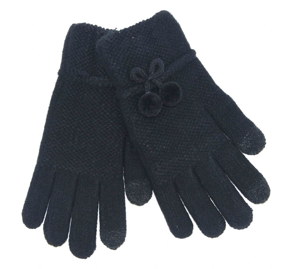 Ladies black touch screen gloves